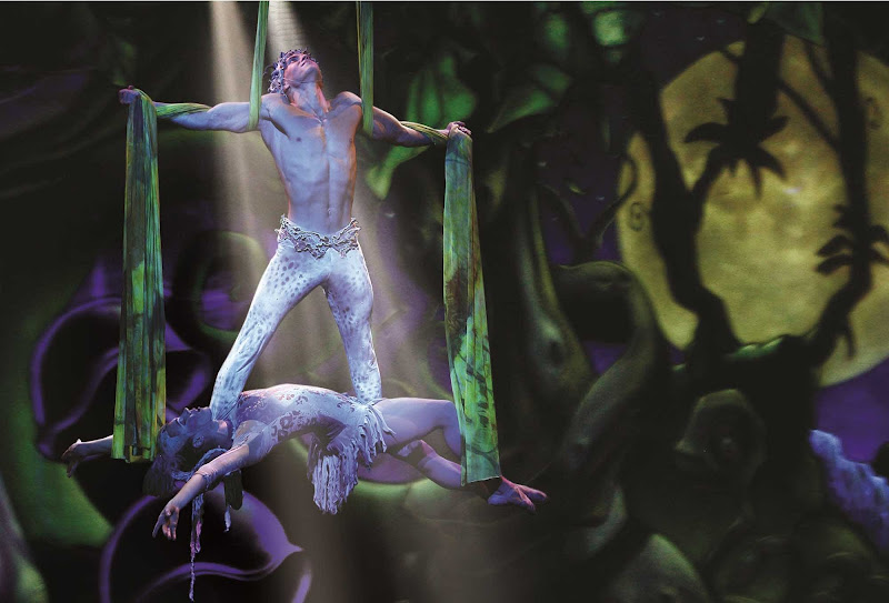 Watch a jungle-inspired aerial performance during Norwegian Epic's Cirque Dreams and Dinner Show.