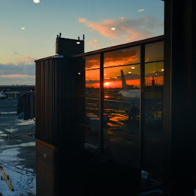 Jetway movie by Shirley Cohen - Transportation Airplanes ( tarmac, airport, winter, jetway, new york, newark, new jersey )