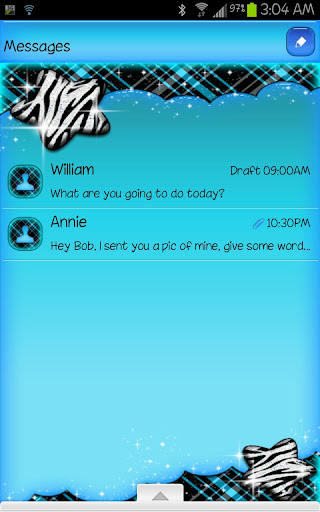 GO SMS - Zebra Star Skies 5