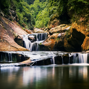 Jump Rock by Bradley Rasmussen - Landscapes Waterscapes ( canon, water, macquarie pass national pass, reflection, wollongong, waterscape, waterfall, nsw, ef 24-70, landscape, 6d, national park, photoshop cc, cascade, australia, lightroom,  )