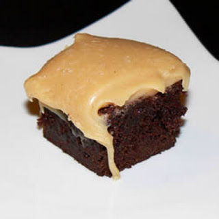 Brownies with Peanut Butter Fudge Frosting.