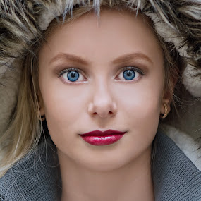 blue eyes by Evita Ewii - People Portraits of Women ( make up, winter, blue eyes, beauty, young girl )