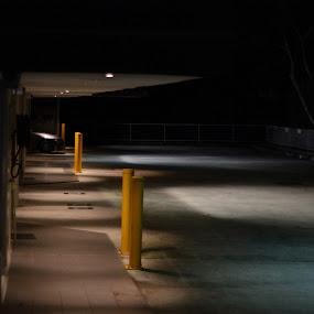 Night Street by Tom Hearn - City,  Street & Park  Night ( contrast, shadow, street, dark, light )