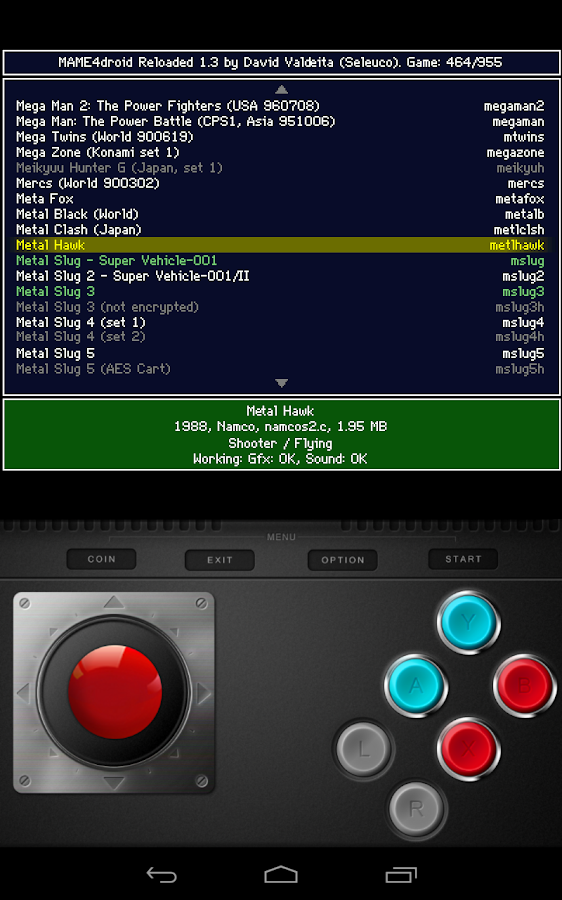MAME4droid  (0.139u1)- screenshot