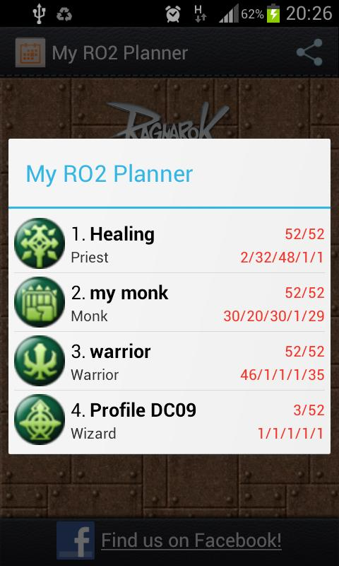My RO2 Planner - screenshot