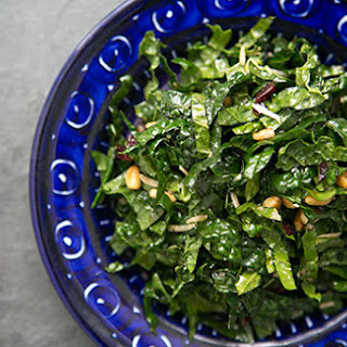 Raw Kale Salad with Balsamic, Pine Nuts, and Parmesan.