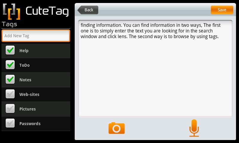 CuteTag for Tablets – Screenshot