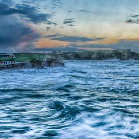 Raging Sea & Wet Lens by Nicola Scarselli - Landscapes Waterscapes ( uk, cliffs, waves, seascape, coastline )