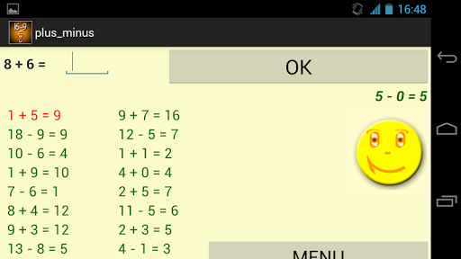 Addition and Subtraction app for Android screenshot