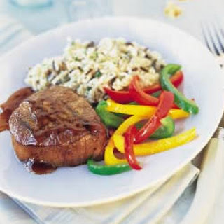 Grilled Beef Steaks with Espresso-Bourbon Sauce.