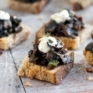 Mushroom And Chestnuts On Rye Bread.