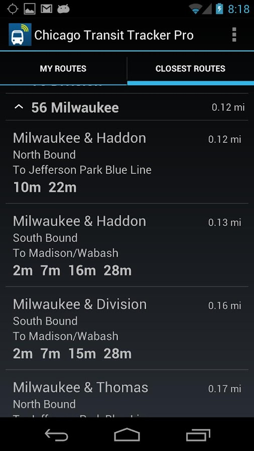 Chicago Transit Tracker Pro - screenshot