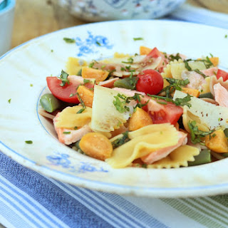 Bowtie Pasta with Salmon, Physalis, and Cherry Tomato.