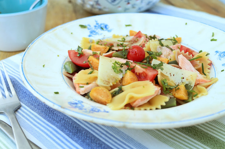 Bowtie Pasta with Salmon, Physalis, and Cherry Tomato Recipe