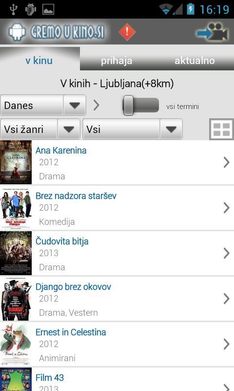 Kino sporedi - Slovenija - screenshot