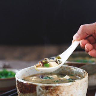 Shiitake Miso Soup with Silken Tofu.