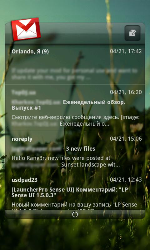 LauncherPro Glass Sense skin - screenshot