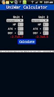 Screenshot of UniWar Calculator