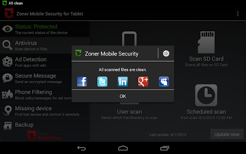 Zoner Mobile Security - Tablet - screenshot thumbnail