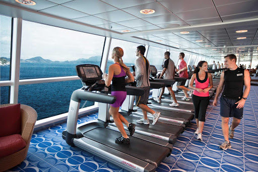 Celebrity_Solstice_fitness - Be one with the sea during your workout on a treadmill in Celebrity Solstice's fitness center.
