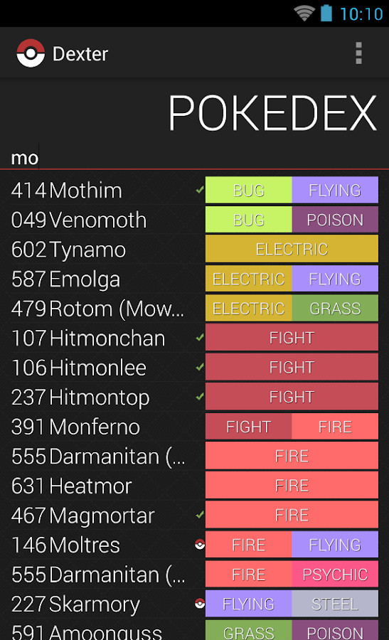 Dexter - Minimalistic Pokedex - screenshot