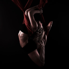 Entangled Too by Monte Arnold - People Musicians & Entertainers ( silk, red, abs, bend, legs, contortion, flexibility, dance,  )