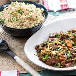 Cantonese-Style Beef & Vegetable Stir-Fry with Shiitake Mushrooms & Brown Rice.