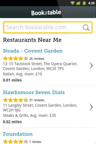 Bookatable Restaurant Finder - screenshot