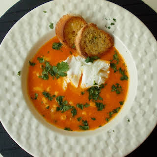 Fish Soup With Poached Egg and Croutons.