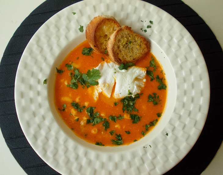Fish Soup with Poached Egg and Croutons Recipe