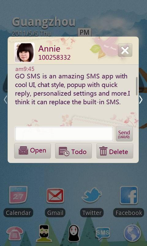GO SMS Pro Love Letter Theme - screenshot