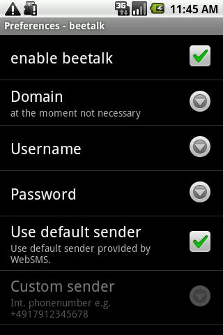 WebSMS: Beetalk Connector- screenshot