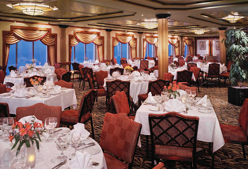 Enjoy a five-course dinner at the Garden Room, one of Norwegian Spirit's main dining rooms.