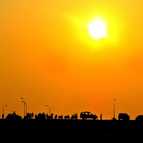 yellow effect by Shamsad Mhd - Landscapes Sunsets & Sunrises ( cars, silhouette, sunrise, yellowish, black, , Free, Freedom, Inspire, Inspiring, Inspirational, Emotion )