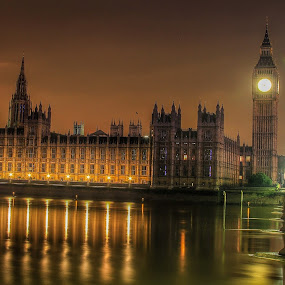 Night House Of Parliament  by Nachau Kirwan - Buildings & Architecture Other Exteriors ( water, night photography, bridge, people, river,  )
