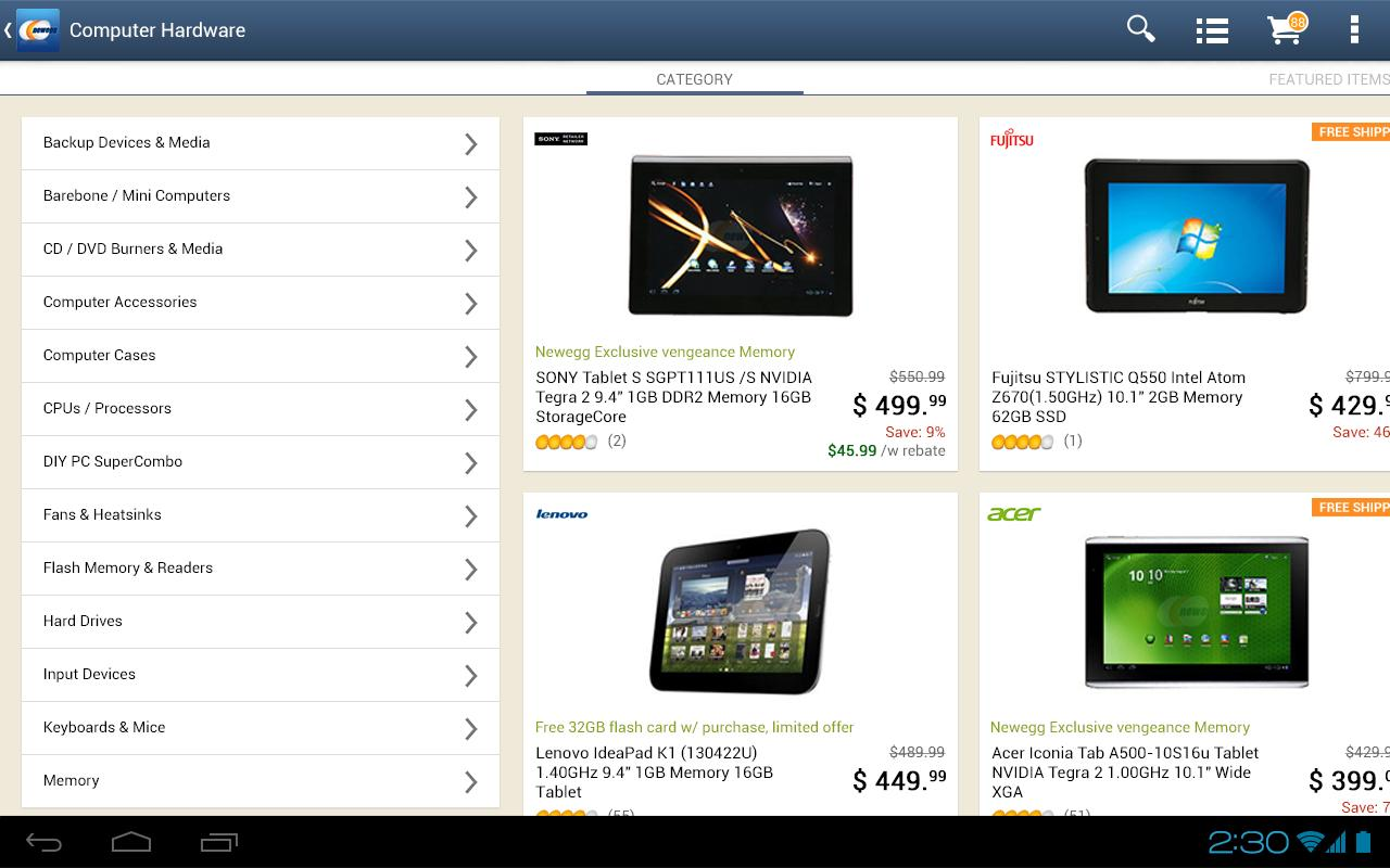 Newegg for Tablet - screenshot