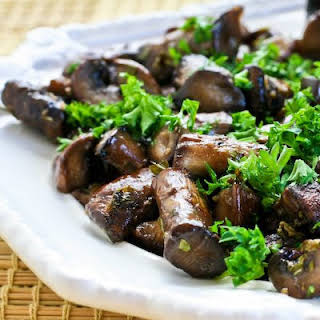 Oven or Grilltop Roasted Mushrooms with Garlic, Thyme, and Balsamic Vinegar.