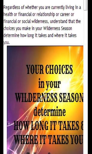 Stop Wandering in Wilderness