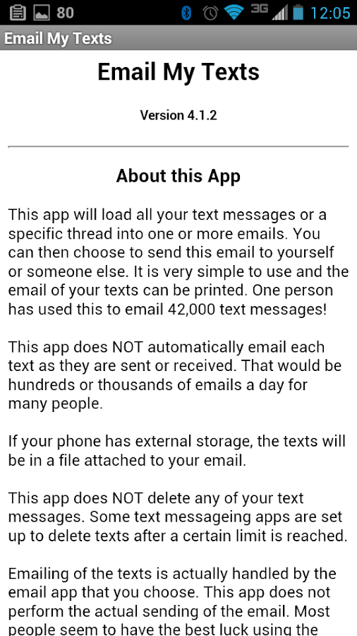 Email My Texts- screenshot