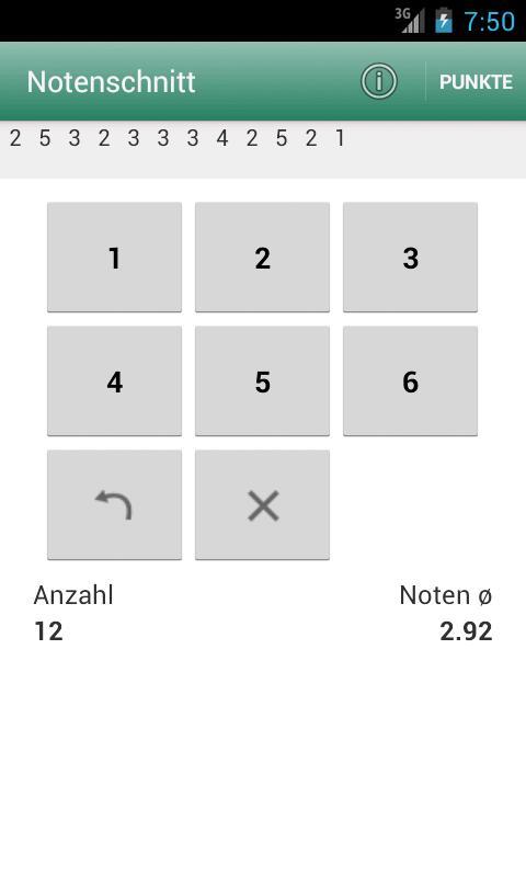 Notenschnitt - Zeugnisrechner- screenshot