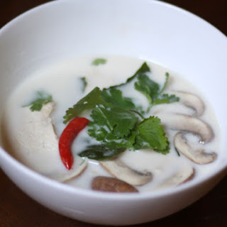 Thai Coconut Chicken Soup (Tom Kha Gai) with Mushrooms.