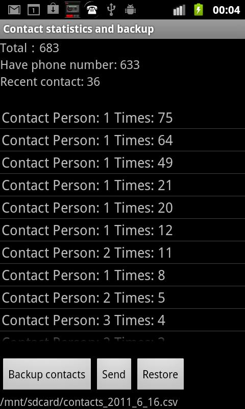 Contacts Backup- screenshot
