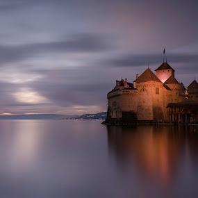 Chillon castle,  by Romain Bruot - Buildings & Architecture Public & Historical ( swiss, la léman, château, léman, vd, switzerland, lake, château de chillon, ch, veytaux, lac )