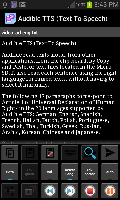 Audible TTS (Text To Speech) - screenshot