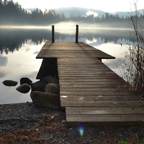 Dock at Alice Lake by Adriano Sabagala - Landscapes Travel ( cabin, reflection, peaceful, snoqualmie, wooden dock, peace, zen, inner peace, lake, alice lake,  )