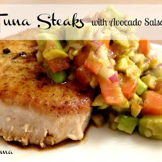 Tuna Steaks with Avocado Salsa.