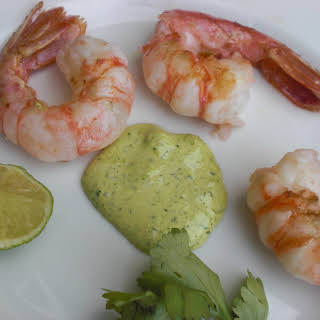 """Last of the Season """"Grilled"""" Spot Prawns with Garlic Scape, Cilantro and Lime Aioli."""