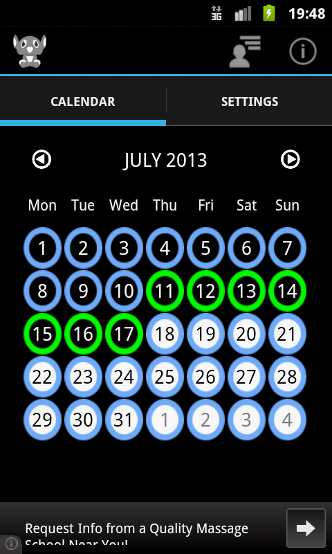 Contraceptive pill - screenshot