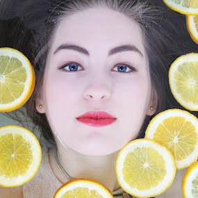 by Thean Jonck - People Portraits of Women ( water, face, oranges )
