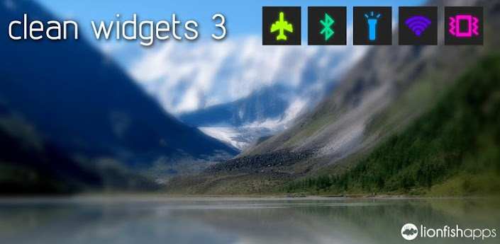 Clean Widgets es una colección de widgets de la pantalla de inicio para los teléfonos Android y tabletas. Contiene dos relojes, dos metros de baterías y los botones con 8 ajustes diferentes (Modo avión, auto-sync, auto-rotación, Bluetooth, brillo, linterna, modo de vibración, y WiFi). Todos los widgets son de colores personalizables y fondos, y muchas otras opciones que se pueden cambiar.           Como Colocar Los Widgets : Para 2.3 Versione Anteriores, toque y mantenga presionado en la pantalla de inicio y seleccione «Widgets». Encontrar el widget que desea y pulse para